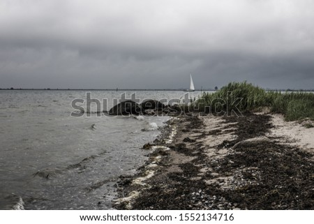 Sailboat on windy grey day past beach