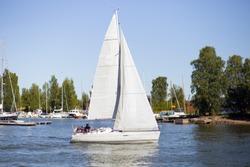 Sailboat. Sailboat in sea. Beautiful landscape.Beautiful landscape with a sailboat. Seilboat in Helsinki