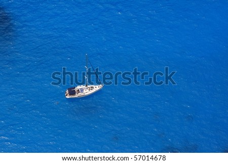 Sailboat sailing the Ionian sea - view from above