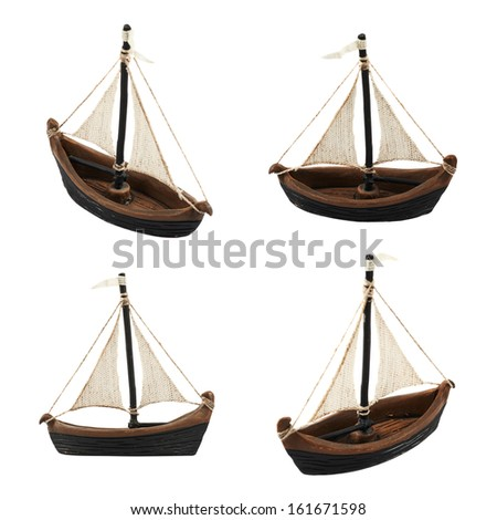Sailboat statuette figure isolated over white background, set of four foreshortenings