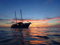 Sailboat Sunset on the Reef Florida Keys