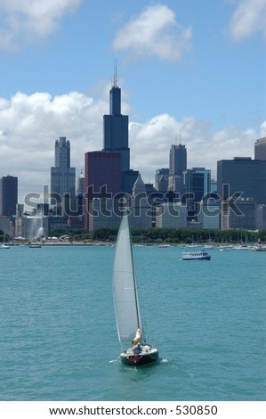 Sailboat with Chicago