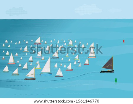 Sailboat with dark sail overtakes fleet of Sailboats, dark horse concept, Outside chance, outsider, Winning, Race, Illustration