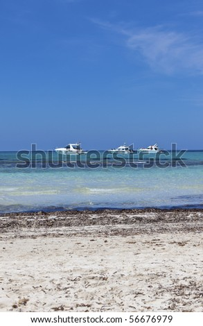 Sailboats at Es Trenc Beach. Location: Majorca. (Balearic Island In Europe).