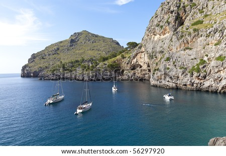 Sailboats at Sa Calobra Beach in Majorca. (Balearic Island In Europe).