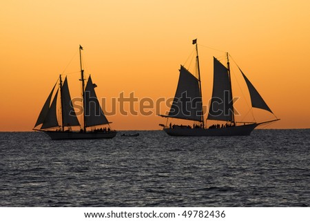 Sailboats at sunset in Key West, Florida