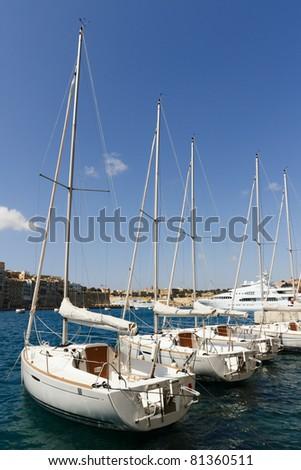 Sailboats at the Vittoriosa marina in Malta