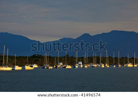 Sailboats in Cairns Harbor at Sunrise