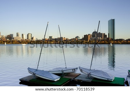 Sailboats in the charles river, Boston. Some in dry dock.  Back Bay and John Hancock behind.