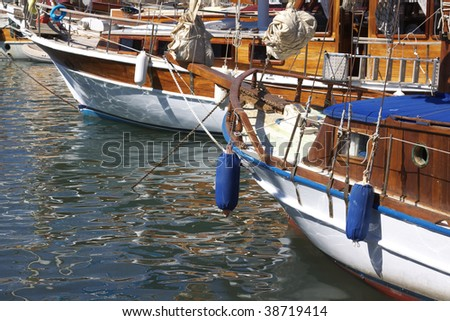Sailboats in the harbor of Bodrum (Turkey)
