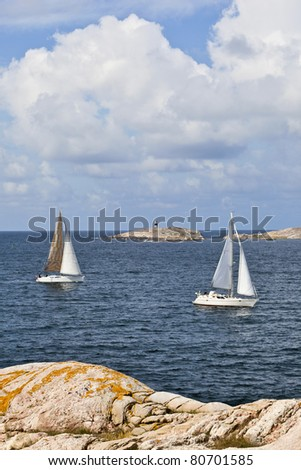 Sailboats in the summer archipelago