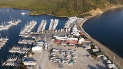 Sailboats Moored On Berth At Yacht Marina Aerial Photo