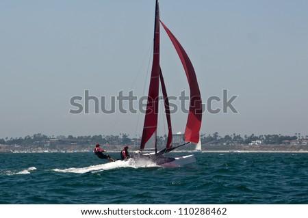 Sailboats off the coast of Long Beach, California