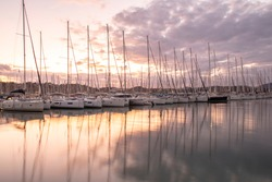 Sailboats view  in the Marina in Evening Time