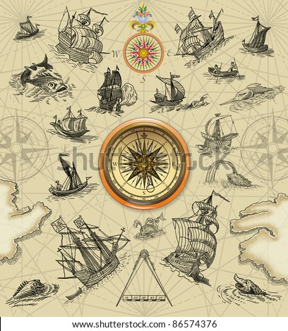 Sailboats with compass illustration