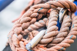 Sailer knot rope on fisher boat in Texel Island, the Netherlands. Close up nice knot.