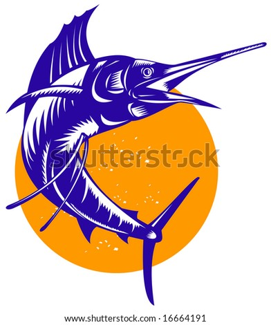 Sailfish with sun in the background