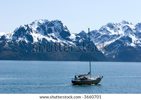 Sailing boat in Alaskan waters