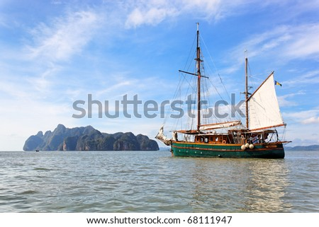 Sailing boat in Phang Nga Bay, Phuket, Thailand