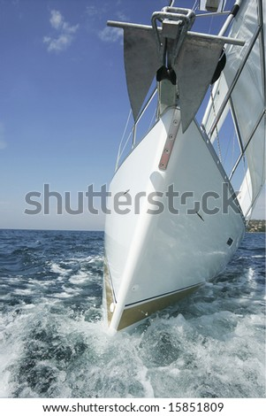 sailing boat is going toward you