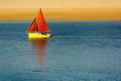 Sailing boat on the river Camel in Padstow (England)