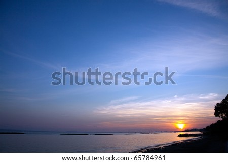 sailing boat sunset at beach in Cyprus #65784961