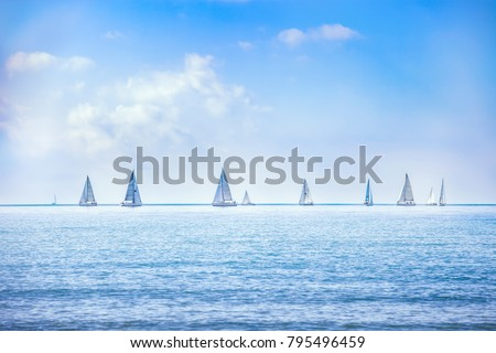 Sailing boat yacht or sailboat group regatta race on sea or ocean water. Panoramic view. - Shutterstock ID 795496459