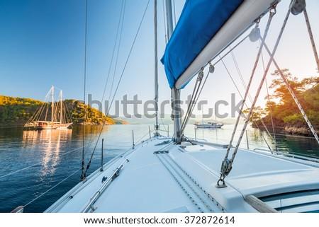 Sailing boats anchored in calm bay. Aegean Sea, Turkey
