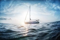 Sailing boats anchored in the sea. Andaman Sea, Thailand