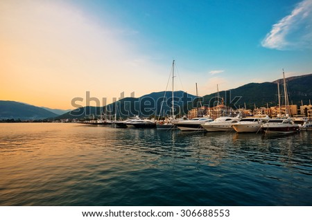 Sailing boats and yachts in marina at sunset. Tivat. Montenegro