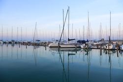 Sailing boats in the marina, lake Balaton, Hungary