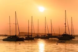 Sailing boats in the port of San Antonio (Ibiza, Spain)
