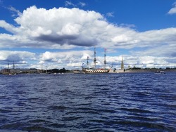 Sailing frigate Poltava in the Neva water area for the Day of the Navy in St. Petersburg.