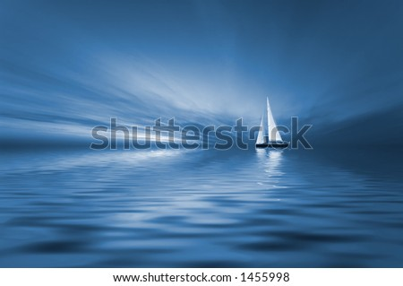 Sailing in blue colors