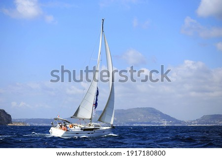 Sailing in the Mediterranean Sea along the italian coast
