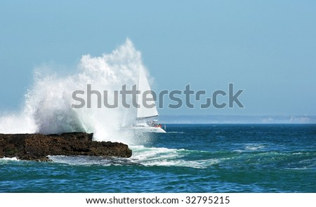 Sailing in the storm through the  big wave