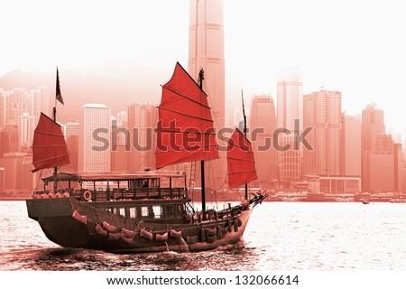 Sailing in Victoria Harbor in Hong Kong.