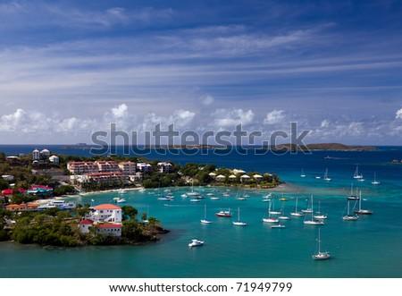Sailing into Cruz Bay on the island of St John in the US Virgin Islands