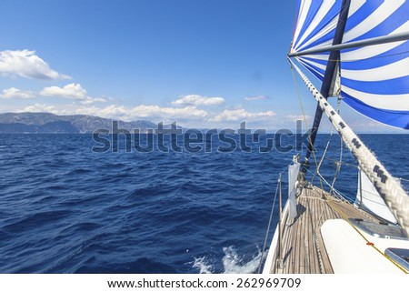 Sailing. Luxury boats. Ship yachts in the open Sea.