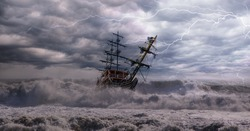 Sailing old ship in a storm sea in the background stormy clouds with lightning