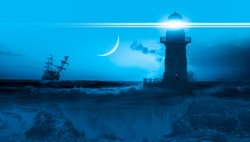 Sailing old ship in storm sea with lighthouse