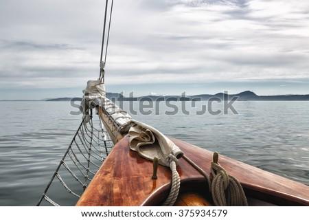sailing on a big vintage wooden ...