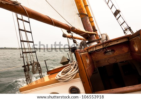 Sailing on a vintage classic wooden sail boat