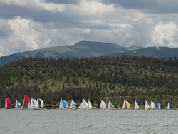 Sailing on mountain lake in the Rocky Mountains. Lake Dillon, Colorado
