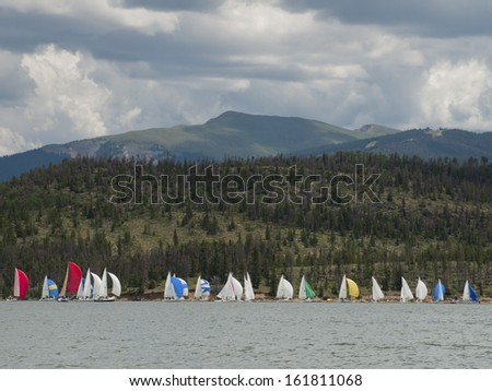 sailing on mountain lake in the ...