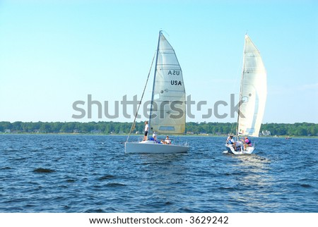 Sailing on Muskegon Lake - Sailing is a favorite pastime for summer vacationers on Muskegon Lake in Michigan, USA.