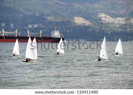 Sailing on the sea by Vancouver - stock photo