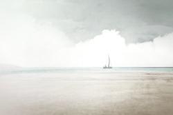 sailing on the sea, minimal surreal seascape