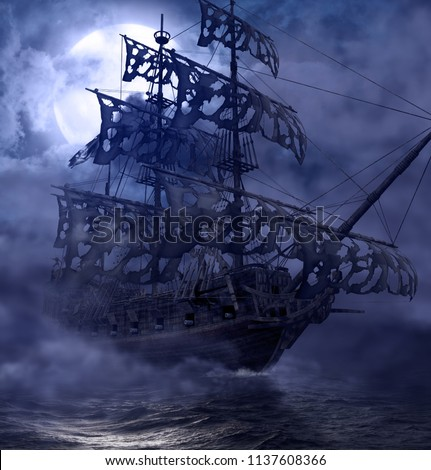 Sailing pirate ghost ship, Flying Dutchman, on the high seas in a moonlit night, 3d render painting