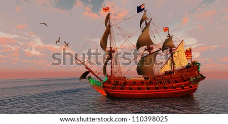 Sailing Ship - A brigantine ship sails on a journey to a distant port on a beautiful summer day.